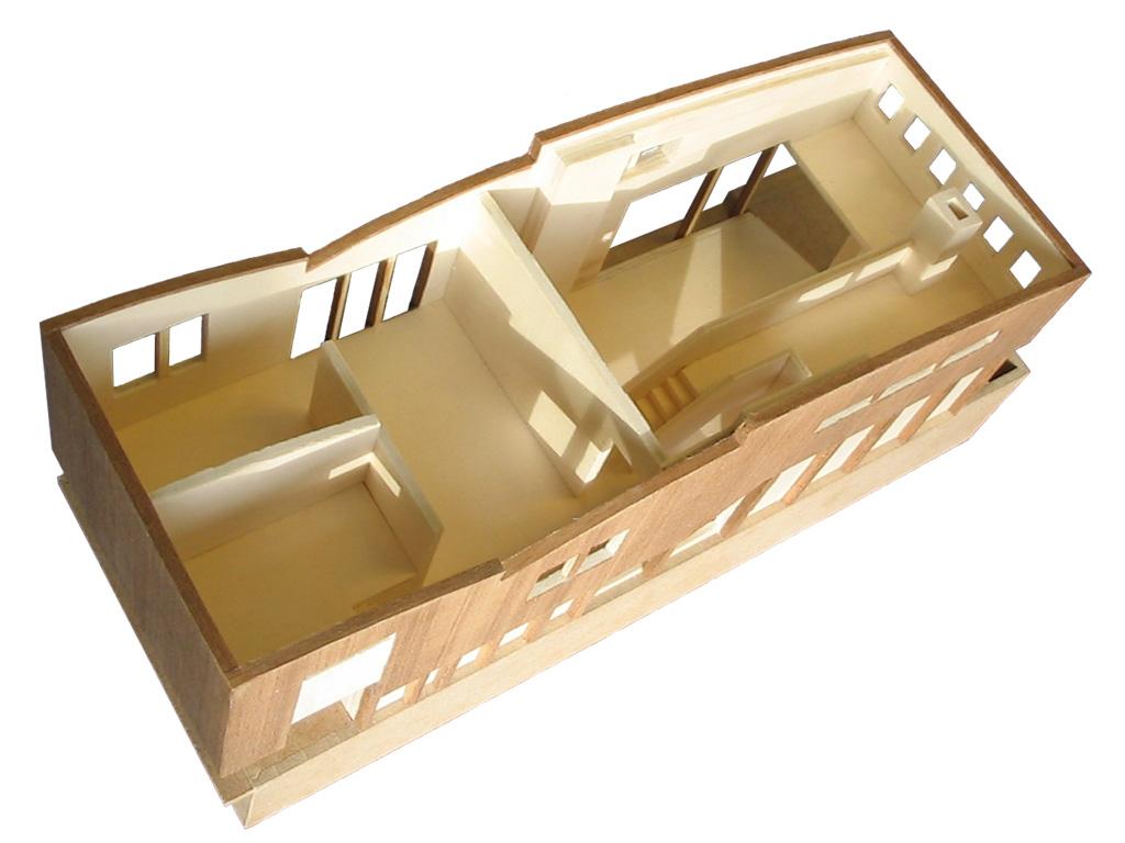 maquette woonboot - interieur onder het afneembare dak