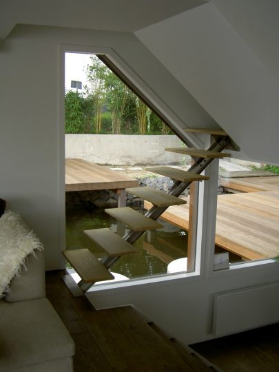 Nieuwbouw woonboot woonark Amsterdam trap - BEELEN CS architecten Eindhoven