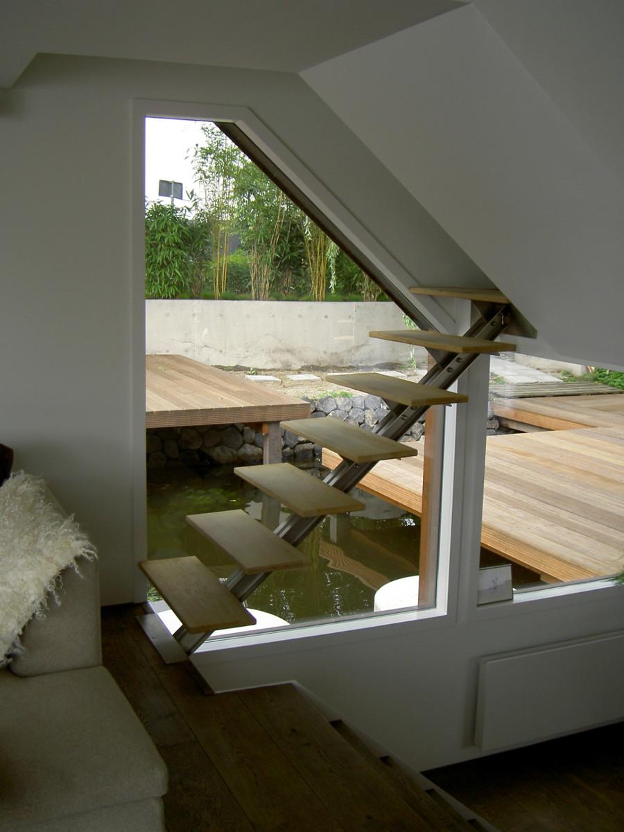 Nieuwsbouw woonboot woonark Amsterdam trap - BEELEN CS architecten Eindhoven
