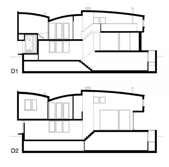Nieuwbouw woonboot woonark doorsneden - BEELEN CS architecten Eindhoven