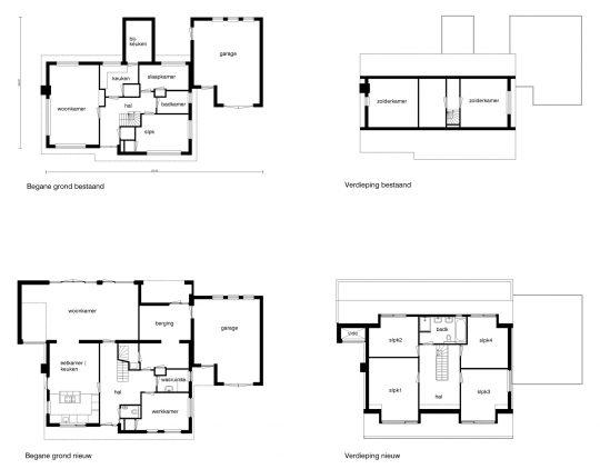 Transformatie woonhuis, Den Hoorn - plattegronden - BEELEN CS architecten Eindhoven