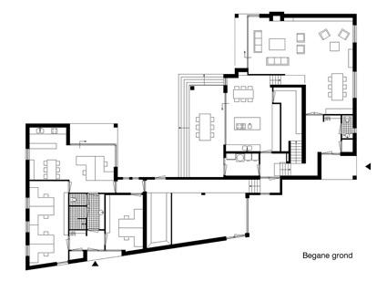 plattegrond begane grond woonhuis met kantoor - BEELEN CS architecten Eindhoven