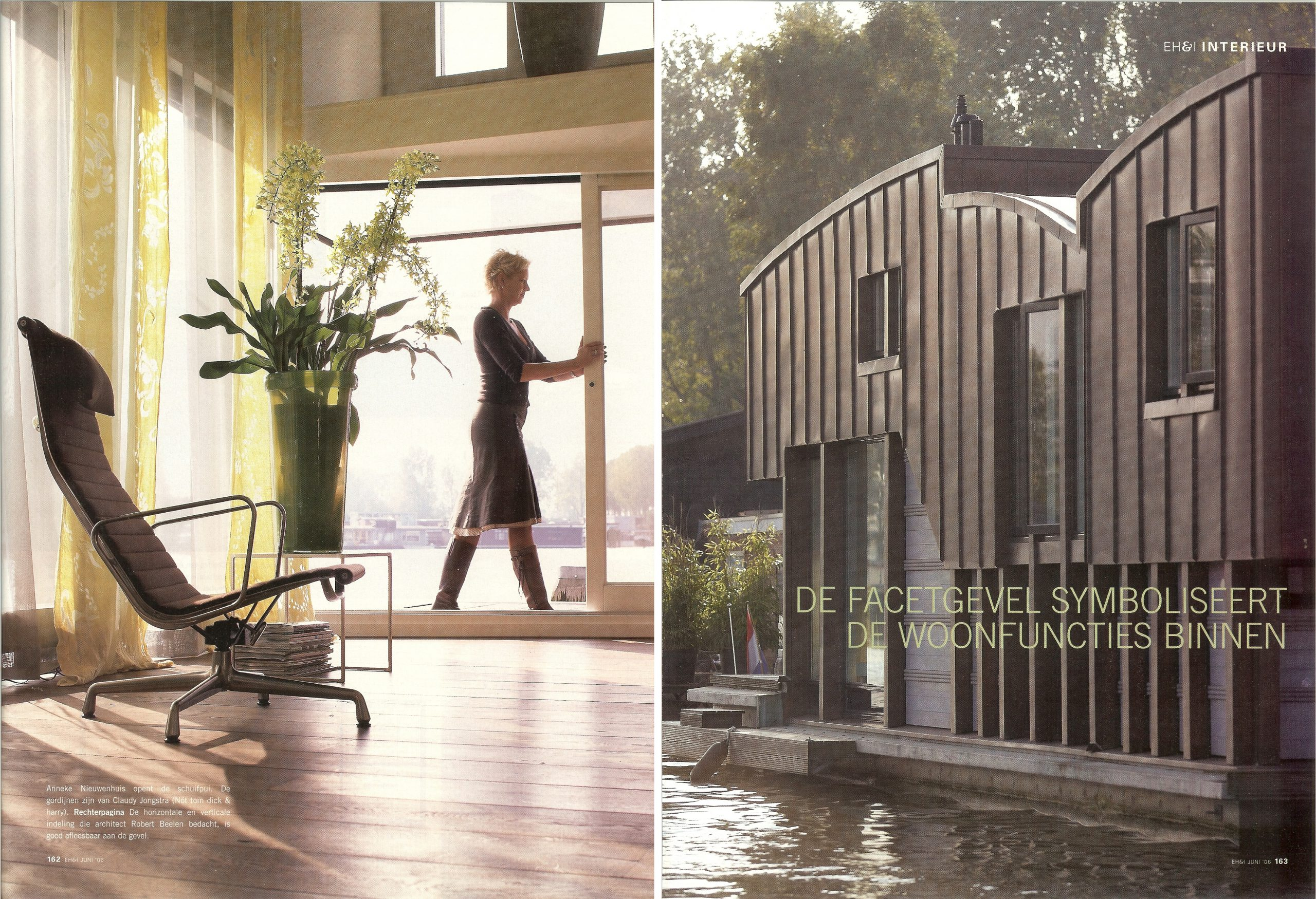 publicatie EigenHuis & Interieur Woonboot in Amsterdam doorBEELEN CS architecten bv p162-163