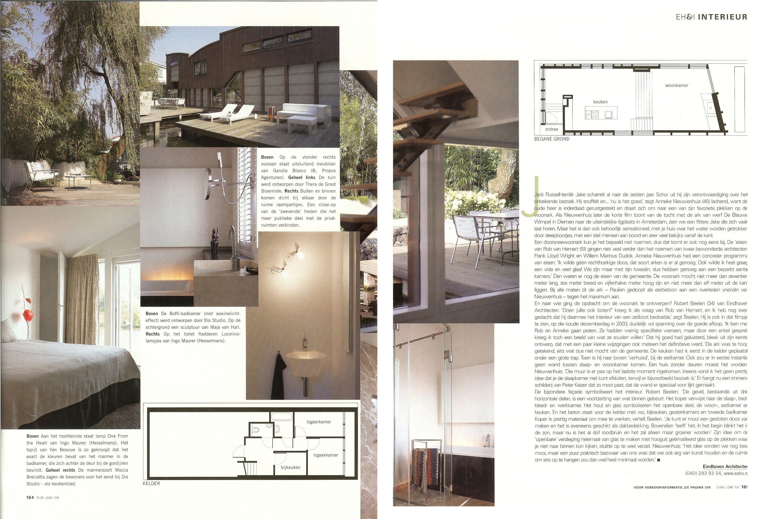 publicatie EigenHuis & Interieur Woonboot in Amsterdam doorBEELEN CS architecten bv p164-165