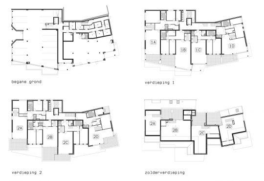 Appartementengebouwen De Poell en La Poste, Nederweert - plattegronden De Poell - BEELEN CS architecten Eindhoven