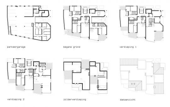 Appartementengebouwen De Poell en La Poste, Nederweert - plattegronden la Poste - BEELEN CS architecten Eindhoven