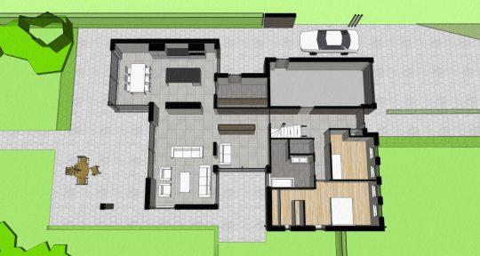 Gezinswoning met ongebruikelijke indeling, Nederweert - 3D impressie plattegrond - BEELEN CS architecten Eindhoven