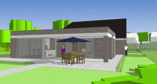 Gezinswoning met ongebruikelijke indeling, Nederweert - 3D impressie tuinzijde - BEELEN CS architecten Eindhoven