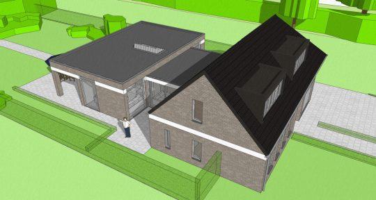 Gezinswoning met ongebruikelijke indeling, Nederweert - 3D impressie vogelvlucht - BEELEN CS architecten Eindhoven