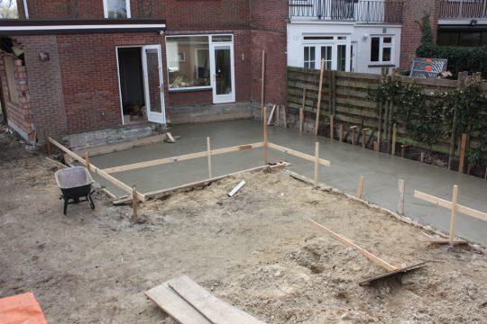 aanbouw en verbouwing woonhuis Helmerslaan Eindhoven bouwfoto fundering gestort