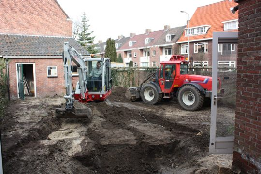 aanbouw en verbouwing woonhuis Helmerslaan Eindhoven bouwfoto ontgraving fundering