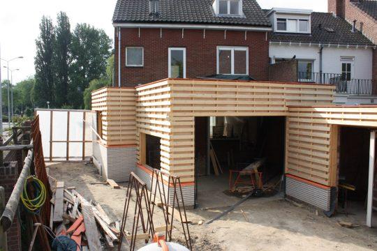 aanbouw en verbouwing woonhuis Helmerslaan Eindhoven achterconstructie zinken gevel bekleding