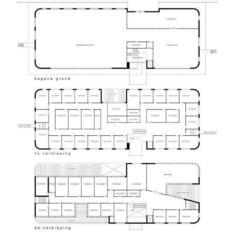 plattegronden bedrijfsgebouw