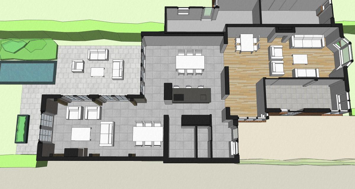3D uitwerking plattegrond woning met aanbouw