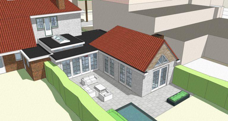 vogelvluchtperspectief nieuwe uitbouw met tuinkamer en leefkeuken