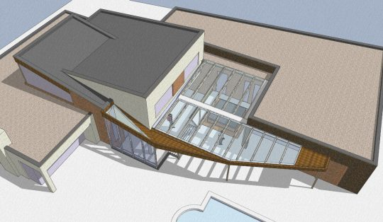 Bouw maatwerk terrasoverkapping Weert - 3D impressie boven - BEELEN CS architecten Eindhoven