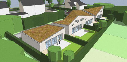 Ontwerp seniorenwoningen, Veghel - 3D impressie achterzijde - BEELEN CS architecten Eindhoven