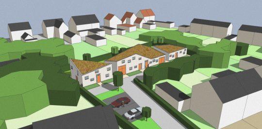 Ontwerp seniorenwoningen, Veghel - 3D impressie entreegebied - BEELEN CS architecten Eindhoven