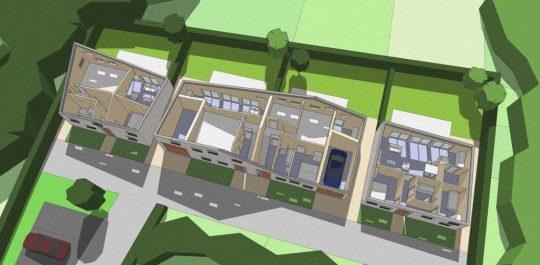 Ontwerp seniorenwoningen, Veghel - 3D impressie opengewerkt - BEELEN CS architecten Eindhoven