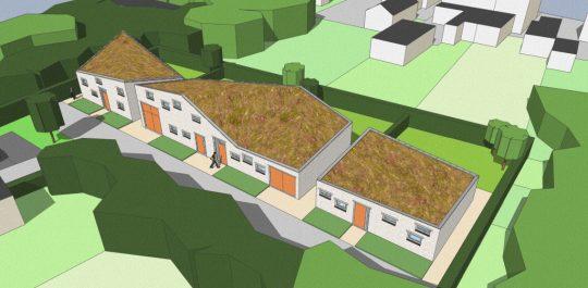 Ontwerp seniorenwoningen, Veghel - 3D impressie voorzijde - BEELEN CS architecten Eindhoven