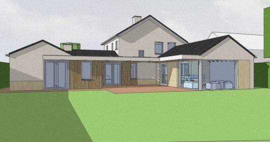 Transformatie tot passiefwoning - 3D impressie achterzijde - BEELEN CS architecten Eindhoven