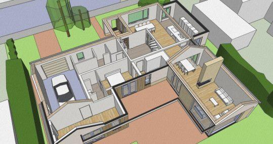 Transformatie tot passiefwoning - 3D impressie opengewerkte plattegrond - BEELEN CS architecten Eindhoven
