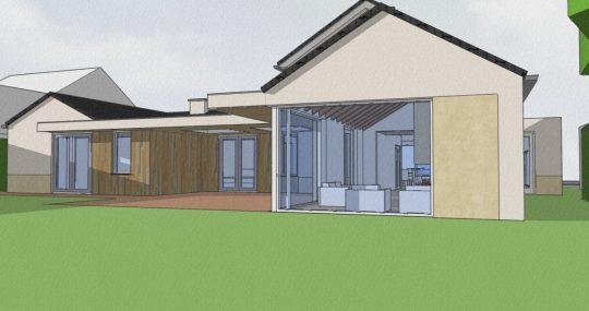 Transformatie tot passiefwoning - 3D impressie tuinkamer - BEELEN CS architecten Eindhoven