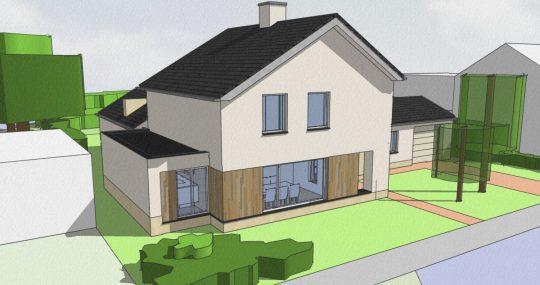 Transformatie tot passiefwoning - 3D impressie voorzijde - BEELEN CS architecten Eindhoven