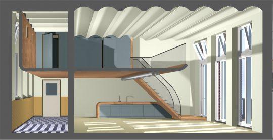 Herbestemming monumentaal schoolgebouw, Amsterdam - doorsnede impressie - BEELEN CS architecten Eindhoven