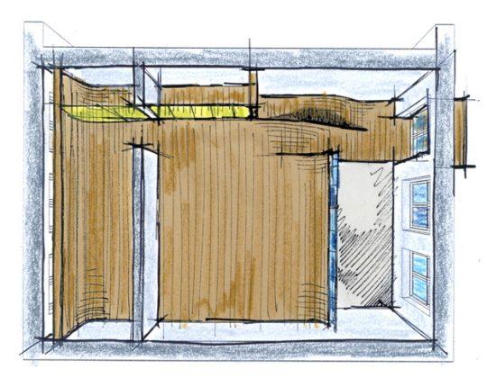 Herbestemming monumentaal schoolgebouw, Amsterdam - schets entresolvloer - BEELEN CS architecten Eindhoven