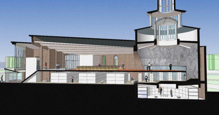 langsdoorsnede plan mausoleum Fatimakerk Weert | Beelen CS architecten