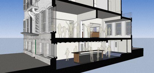 BEELEN CS architecten Eindhoven Herbestemming monumentaal kantoorpand naar Studentensociëteit De Keizer visualisatie