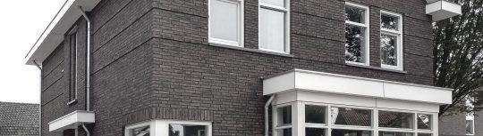 BEELEN CS architecten Eindhoven Nieuwbouw woonhuis Mr Rijkenstraat Veldhoven detail voorgevel