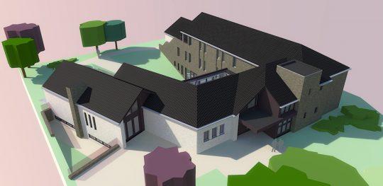 Luxe groepszorgwoning Meijbaan, Weert - 3D impressie vogelvlucht voorzijde - BEELEN CS architecten Eindhoven