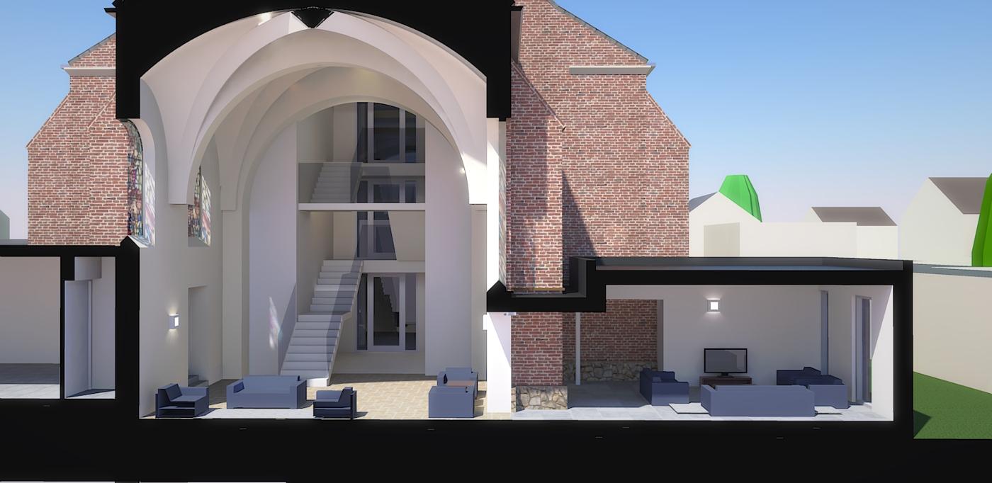 Herbestemming Bernadettekerk Landgraaf doorsnede priesterkoor-woonkamer - BEELEN CS architecten Eindhoven