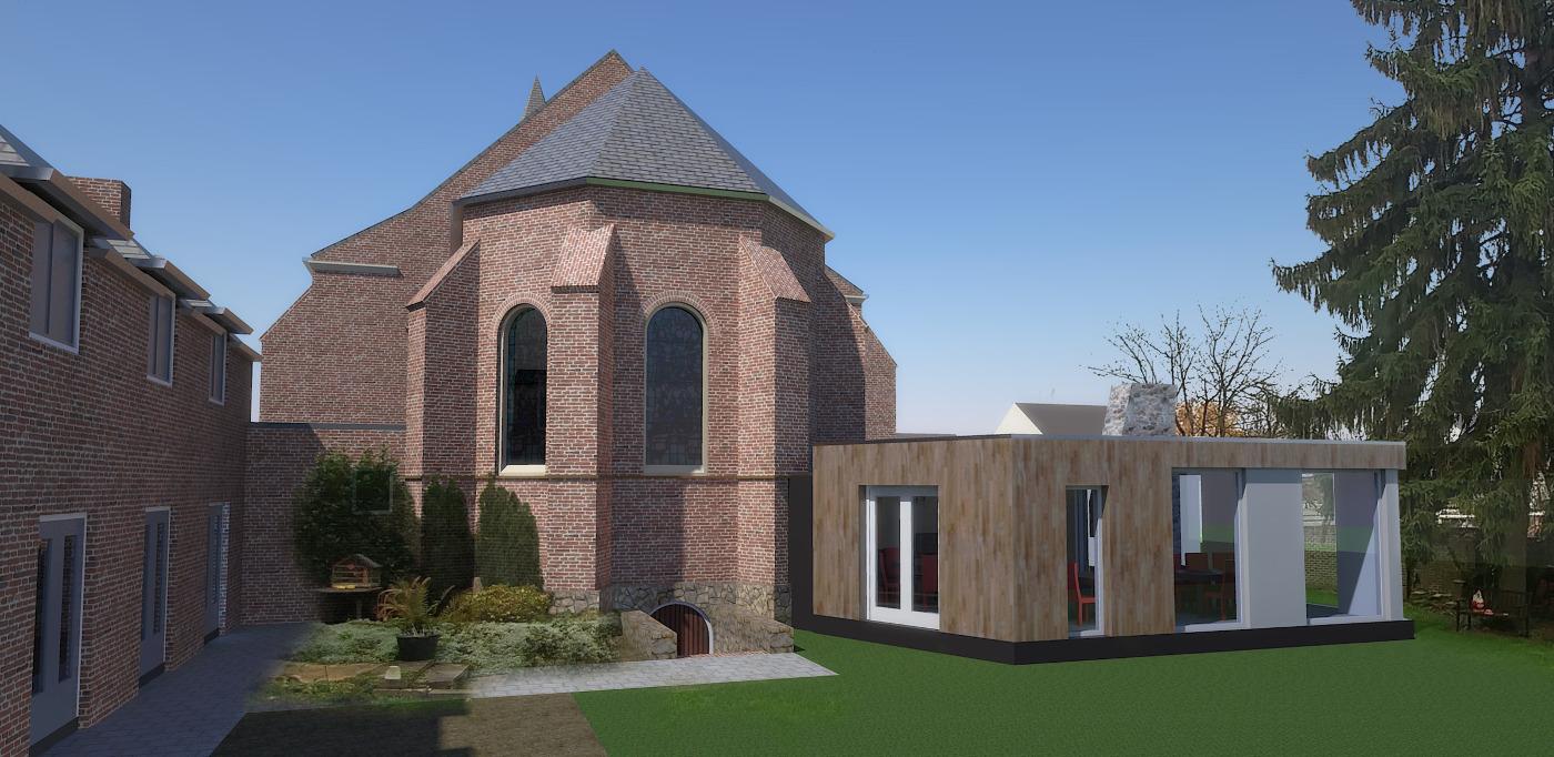 Herbestemming Bernadettekerk Landgraaf impressie tuinzijde - BEELEN CS architecten Eindhoven
