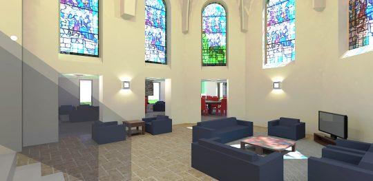Herbestemming Bernadettekerk Landgraaf interieur impressie priesterkoor-woonkamer - BEELEN CS architecten Eindhoven