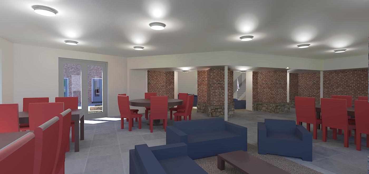 Herbestemming Bernadettekerk Landgraaf interieur impressie woonkamer - BEELEN CS architecten Eindhoven