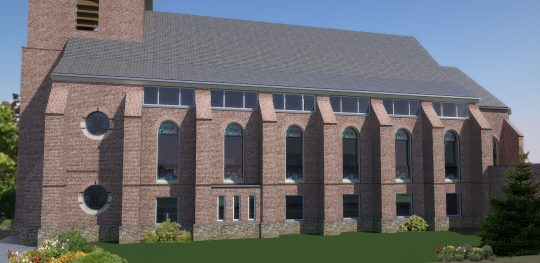 Herbestemming Bernadettekerk Landgraaf naar impressie gevelaanzicht nieuwe toestand - BEELEN CS architecten Eindhoven
