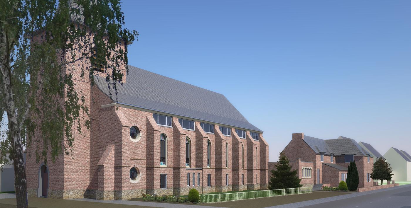 Herbestemming Bernadettekerk Landgraaf naar impressie nieuwe toestand - BEELEN CS architecten Eindhoven