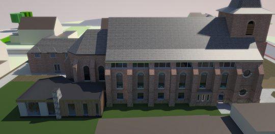 Herbestemming Bernadettekerk Landgraaf naar overzicht impressie nieuwe toestand - BEELEN CS architecten Eindhoven
