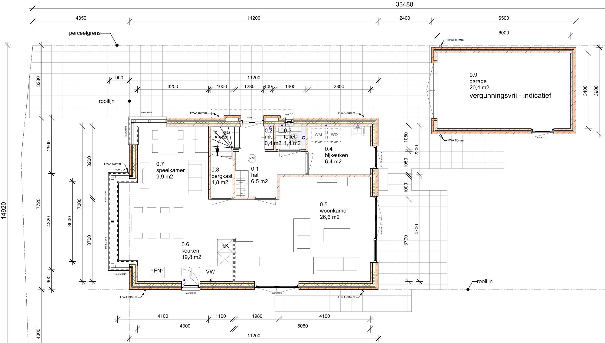 Plattegrond indeling begane grond - Nieuwbouw woonhuis Mr Rijkenstraat Veldhoven - BEELEN CS architecten Eindhoven