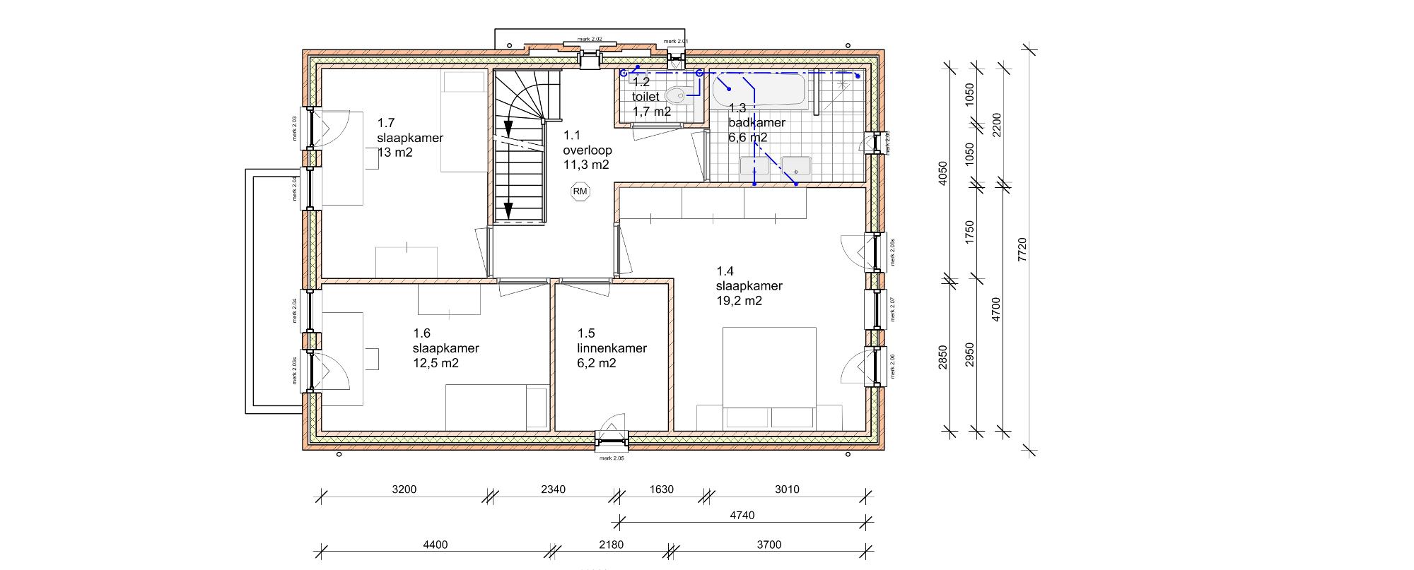 Plattegrond indeling verdieping - Nieuwbouw woonhuis Mr Rijkenstraat Veldhoven - BEELEN CS architecten Eindhoven