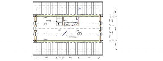 Plattegrond indeling zolder - Nieuwbouw woonhuis Mr Rijkenstraat Veldhoven - BEELEN CS architecten Eindhoven