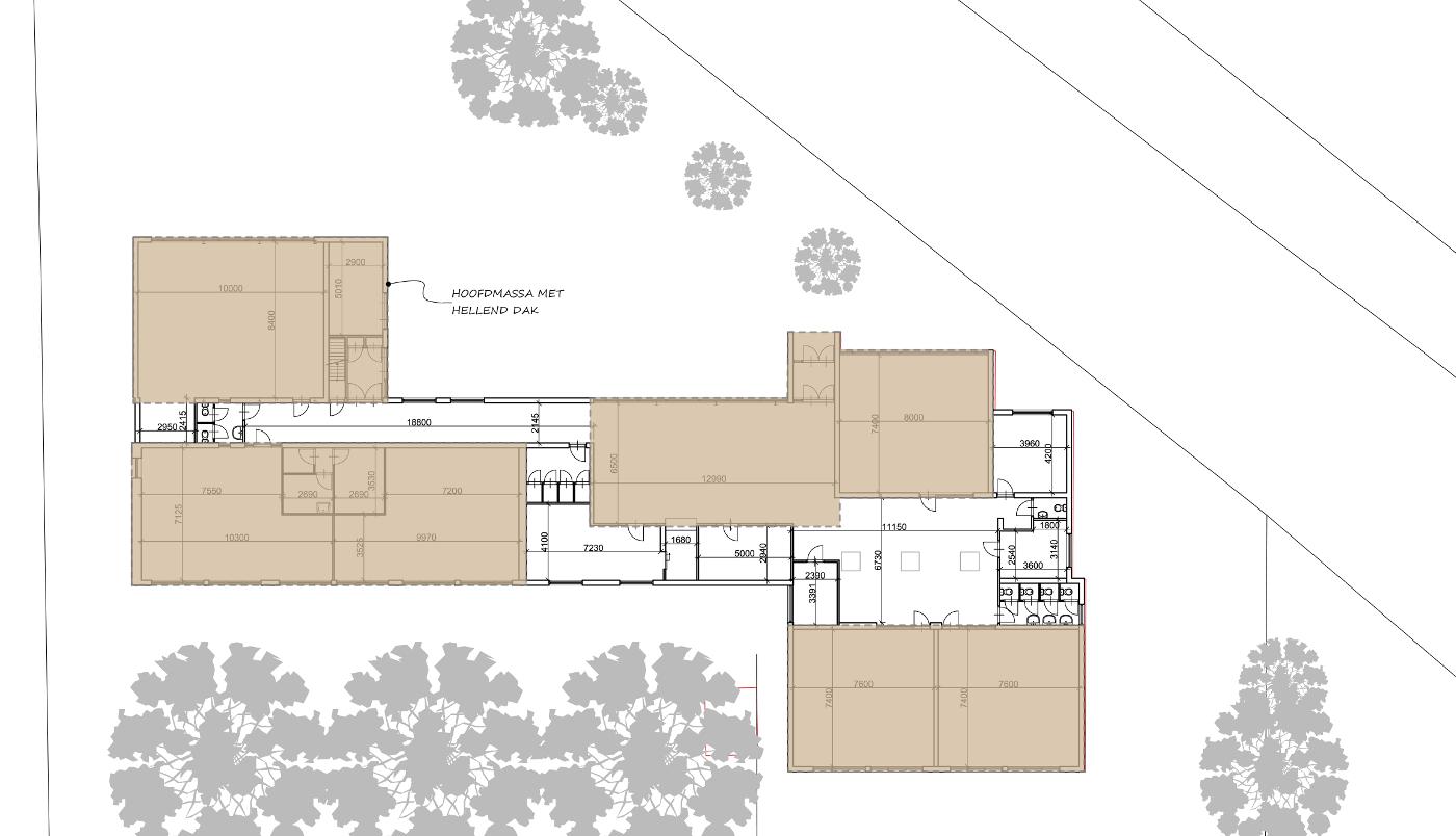 Studie inpassing woongroep in schoolgebouw - plattegrond bestaand - BEELEN CS architecten Eindhoven