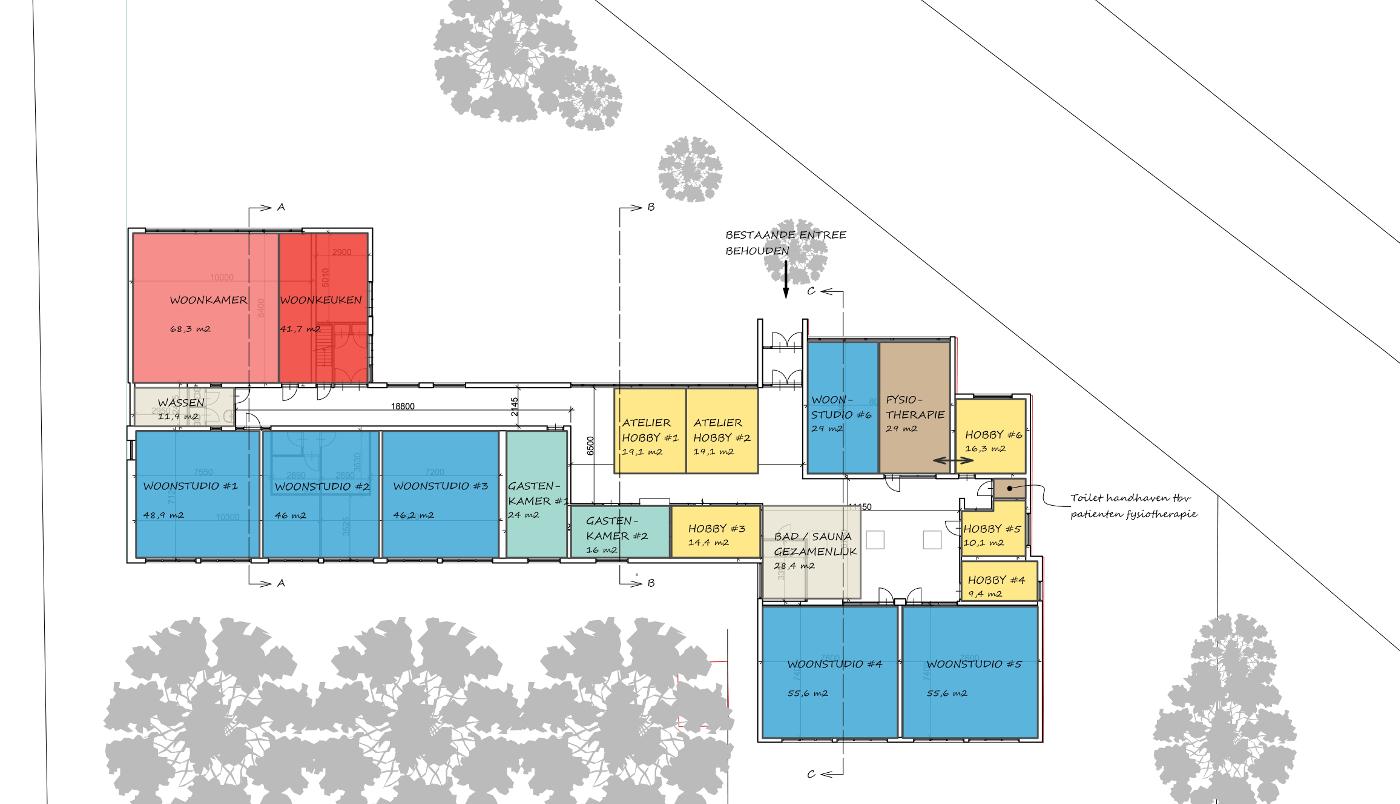 Studie inpassing woongroep in schoolgebouw - plattegrond nieuwe indeling - BEELEN CS architecten Eindhoven