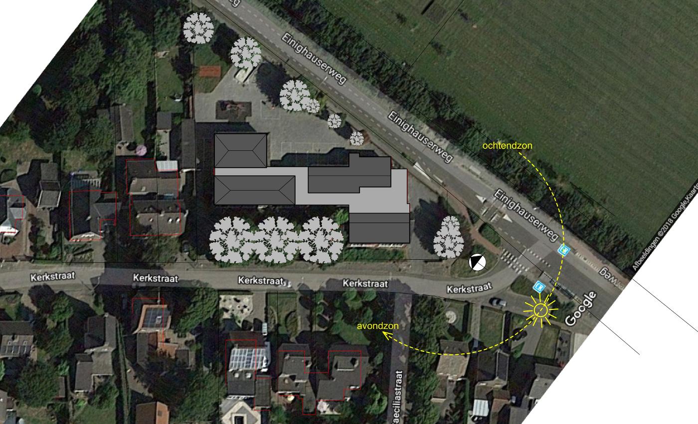 Studie inpassing woongroep in schoolgebouw - situatie massa dakvormen - BEELEN CS architecten Eindhoven