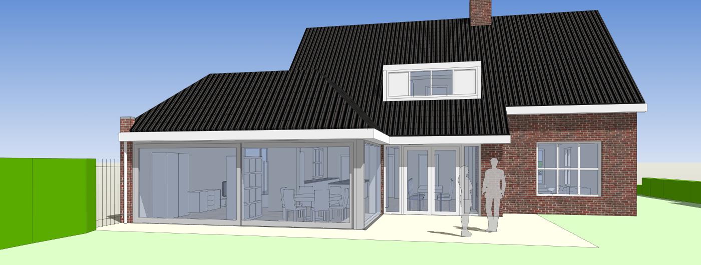 Verbouwing Traditioneel Woonhuis Citrushof 3D impressie achterzijde 1 BEELEN CS architecten Eindhoven