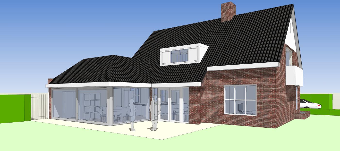 Verbouwing Traditioneel Woonhuis Citrushof 3D impressie achterzijde 2 BEELEN CS architecten Eindhoven