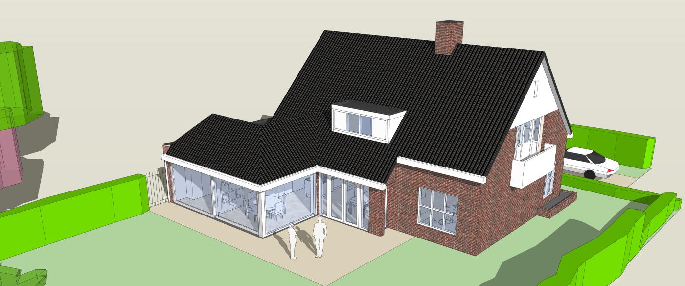 Verbouwing Traditioneel Woonhuis Citrushof Vogelvlucht BEELEN CS architecten Eindhoven